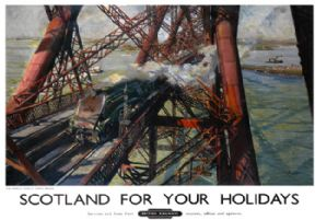 Scotland for Your Holidays, Forth Bridge. BR Vintage Travel Poster by Terence Cuneo